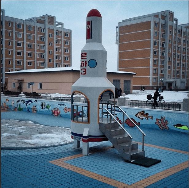 'A pre-school playground set, shaped like the North Korean Unha rocket near #Pyongyang'