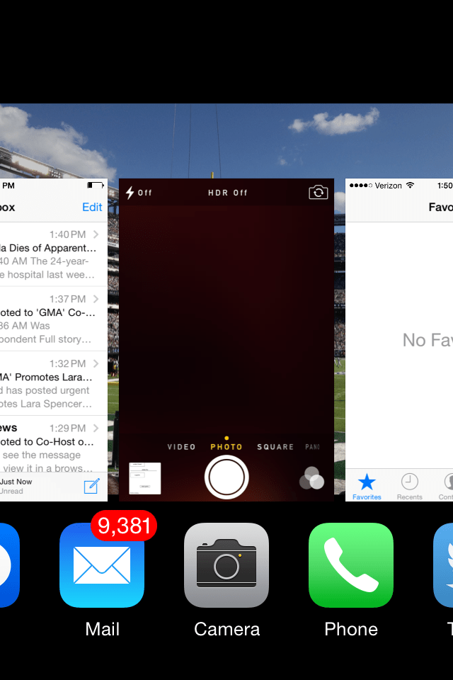 You can check your app history by double-tapping the iPhone's home button. A sideways scrolling list will appear on screen. This shows the last apps you used in chronological order.
