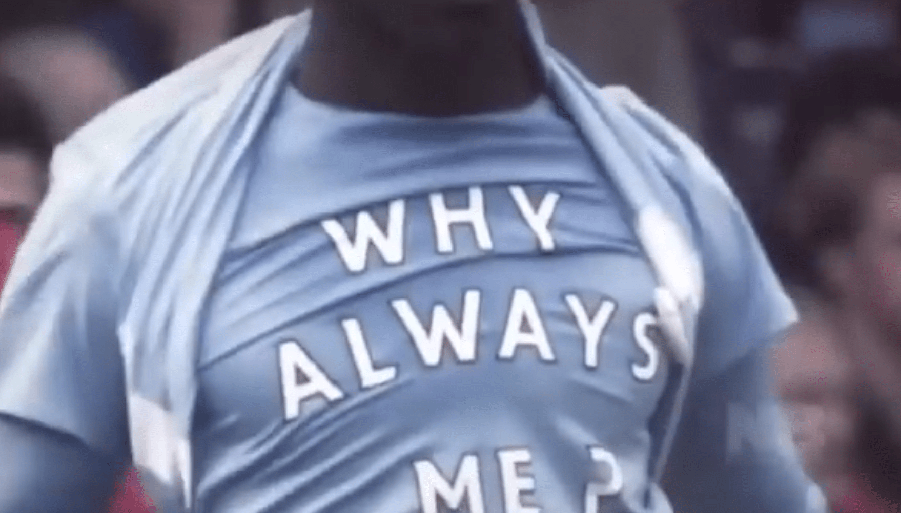 "In 2011 he unveiled a ""Why Always Me?"" shirt after scoring a goal against Manchester United. Such shirts have since been banned by FIFA."
