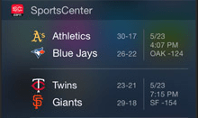 Sports Center widget iOS 8 extension
