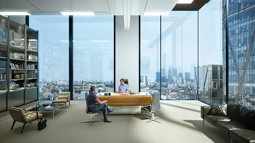This is what you really want: A giant corner office with floor-to-ceiling windows.