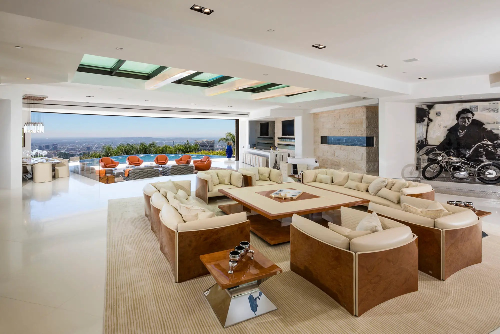 The living room has a skylight and looks out over the horizon.