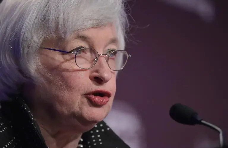 Federal Reserve Board Chairwoman Janet Yellen speaks at IMF headquarters in Washington, DC on May 6, 2015