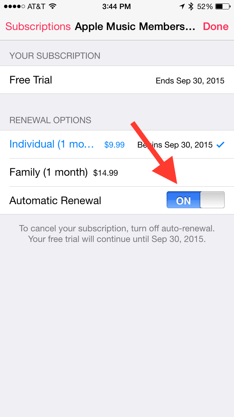 Turn off subscription auto-renewal