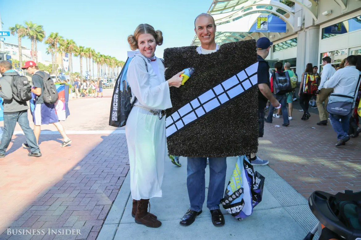 "Another Princess Leia takes a portable vacuum to her ""walking carpet"" companion."