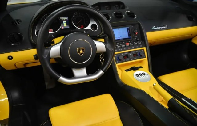 The yellow-and-black interior perfectly complements its flashy exterior.