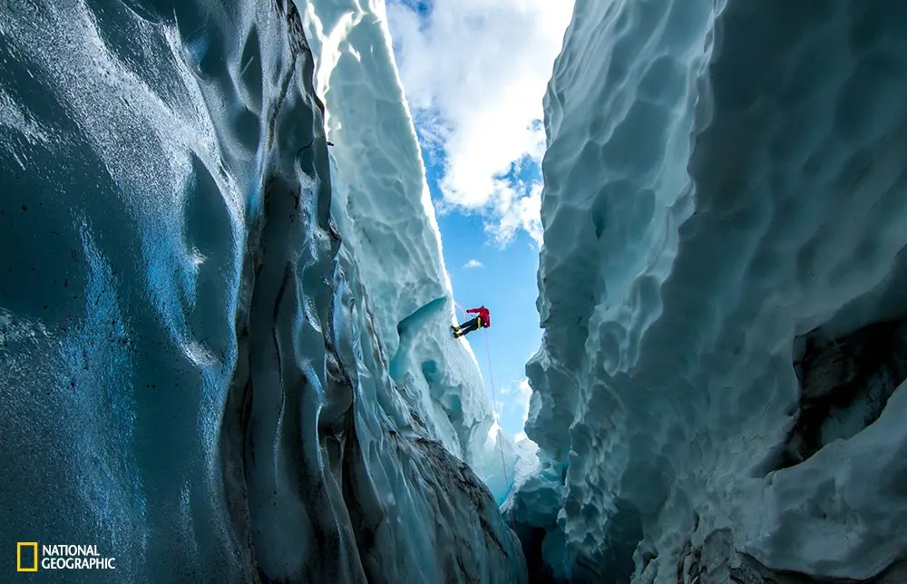 A climber descends into the Hayden Glacier, which is often used as a route to get to Middle Sister, the shortest of three volcanic peaks in the Oregon Cascades.