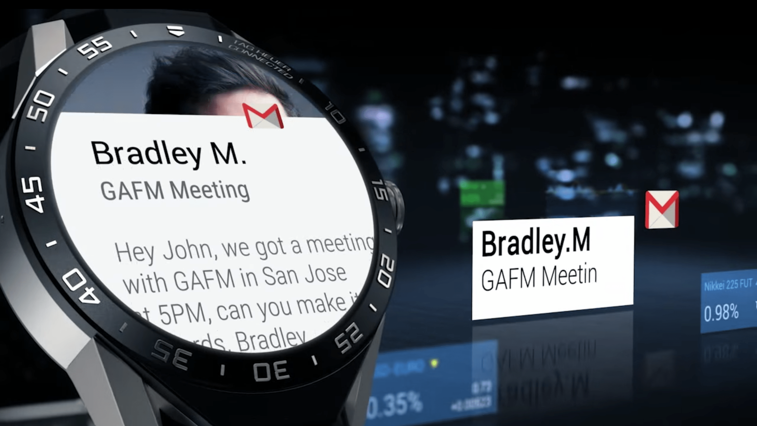 This is how Gmail looks on the Tag Heuer Connected Watch. Like the Moto 360, you'll notice how the round screen cuts off a lot of text.