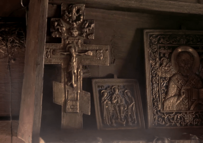 Her homestead is decorated with Christian artwork: