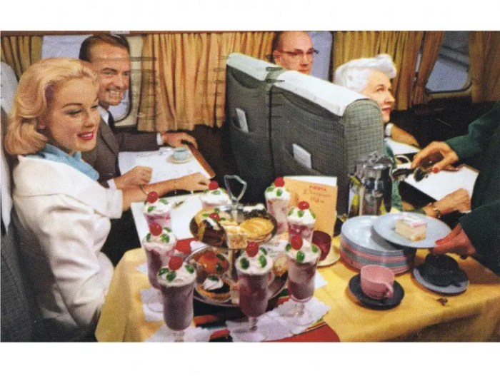 Around 1950, airlines created separate first and economy classes, because they realized they could charge more for the better dining experience. This was still a challenge for the crew, however, because the meals needed to be prepared separately in two different kitchens, Foss says.