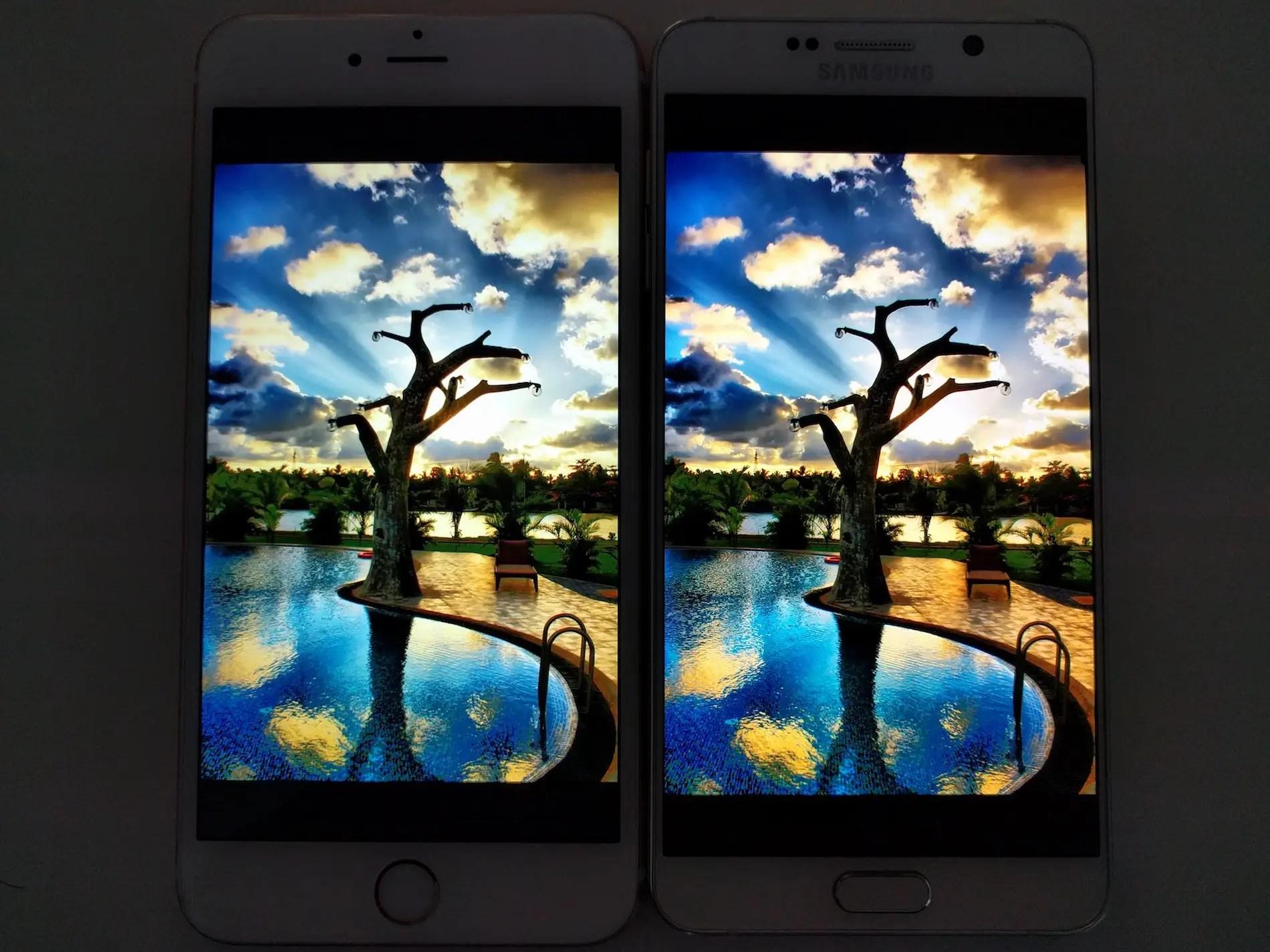 iphone vs galaxy note 5 screen