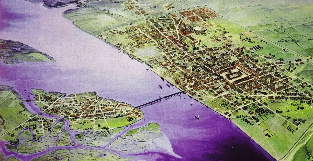 The Romans founded Londinium (now known as London) in 43 AD. You can see the city's first bridge, crossing over the Thames River, in the illustration below.