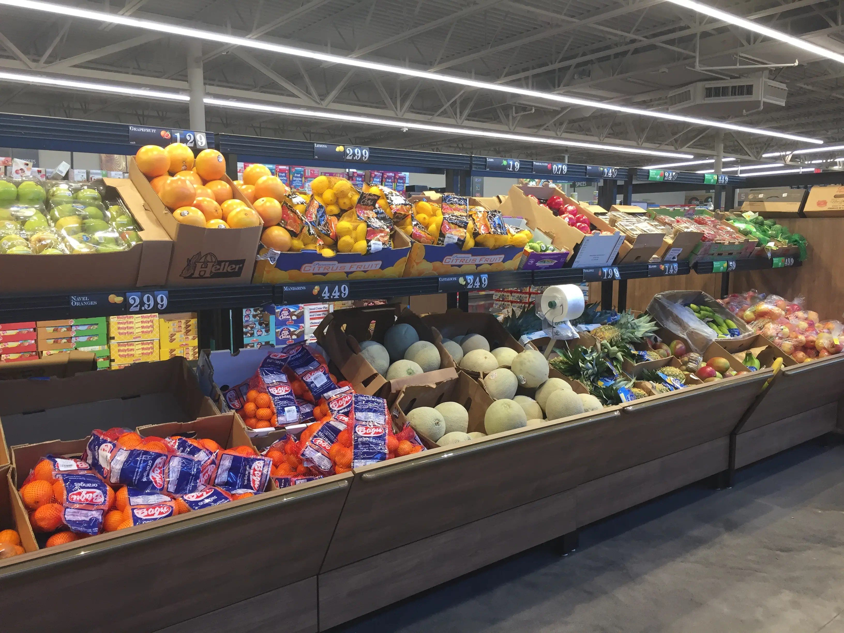 Like in other stores, most of the produce is sold in bulk packaging.