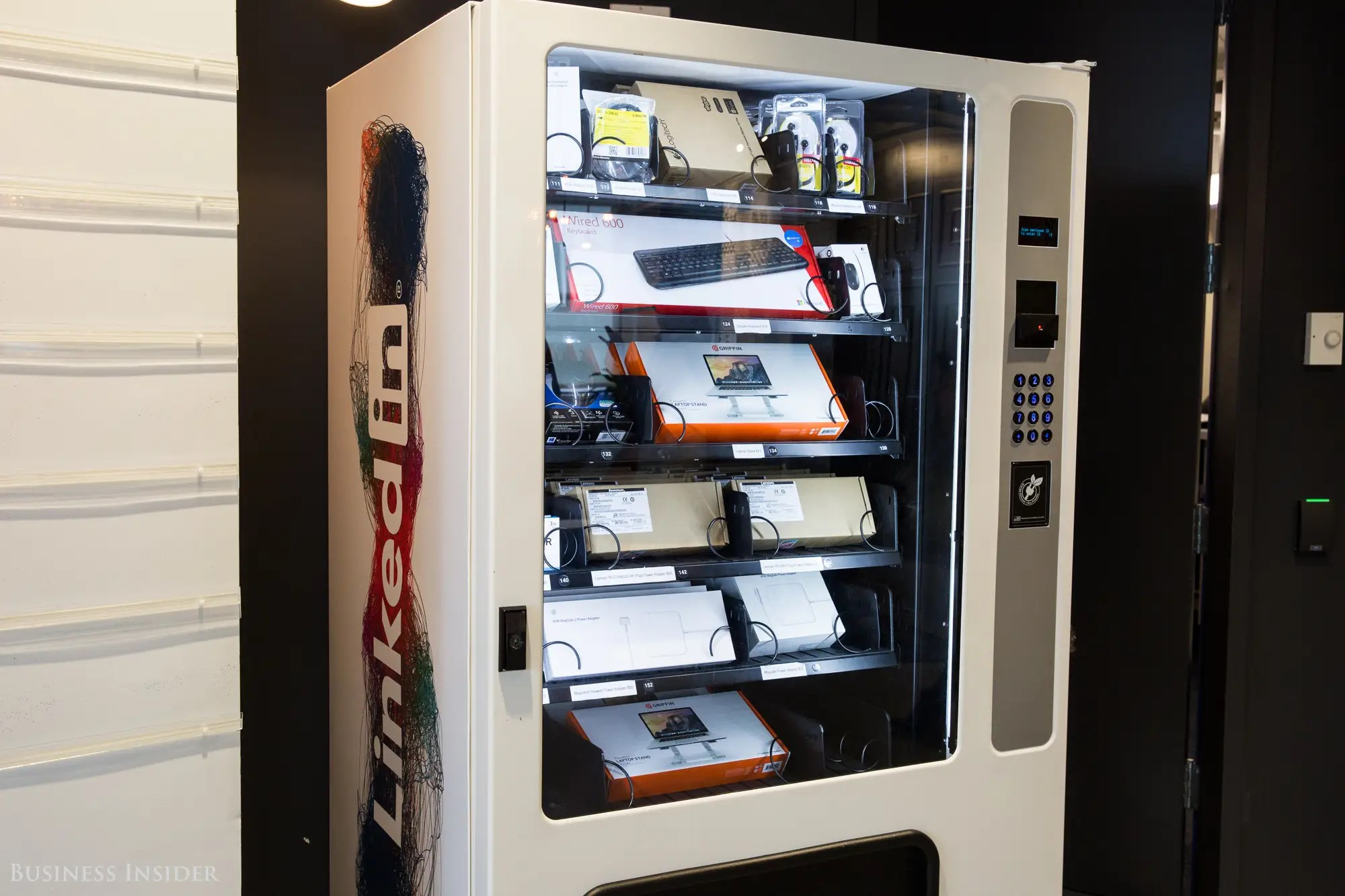 Walking out of the theater, we passed by a high-tech vending machine. Employees can access all sorts of work-related gadgets — like keyboards and chargers — with their LinkedIn employee badge.