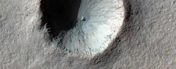 This crater near a region called Aonia Terra looks like part of the Death Star.