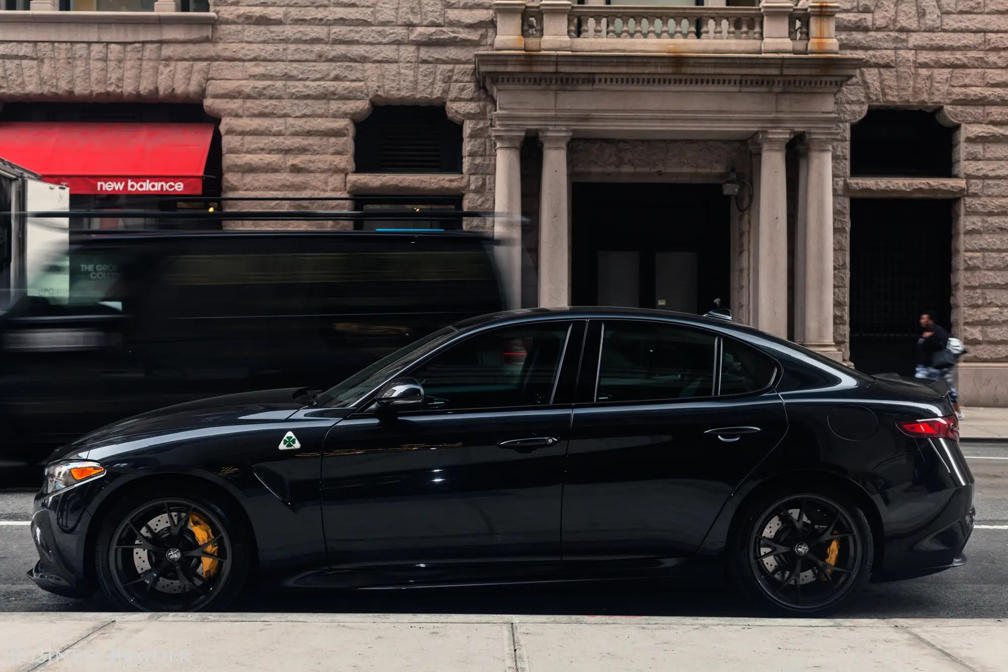 It's a handsome ride, with just enough Italian panache to make it stand apart from the BMWs and Audis of the world. The roof is carbon fiber, too.