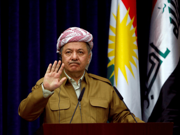 FILE PHOTO: Iraq's Kurdistan region's President Mbadoud Barzani gestures during a joint news conference with German Foreign Minister Sigmar Gabriel (not pictured) in Erbil, Iraq April 20, 2017. REUTERS/Azad Lashkari/File Photo