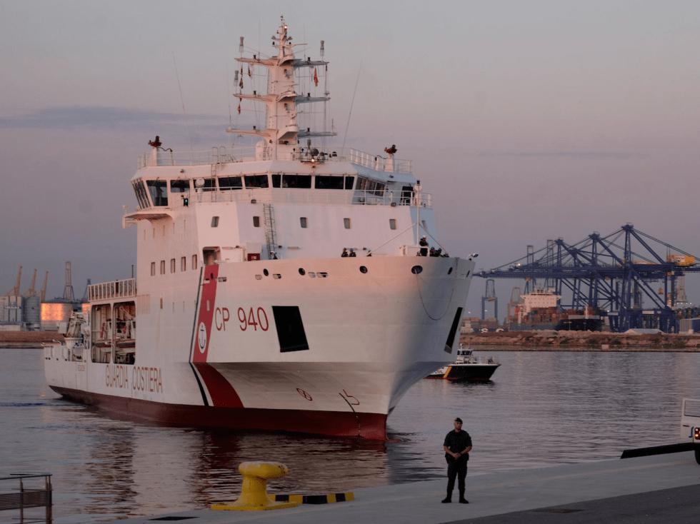 The Dattilo rescue ship arrives to port in Valencia, Spain, June 17, 2018.