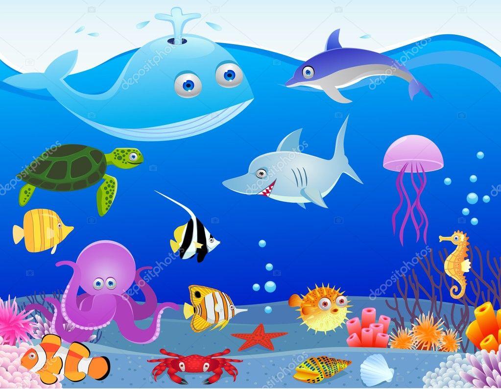 sea life cartoon stock vector dagadu 6258963