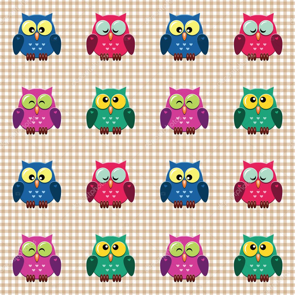 checked pattern with cute owls stock vector slybrowney 6288302