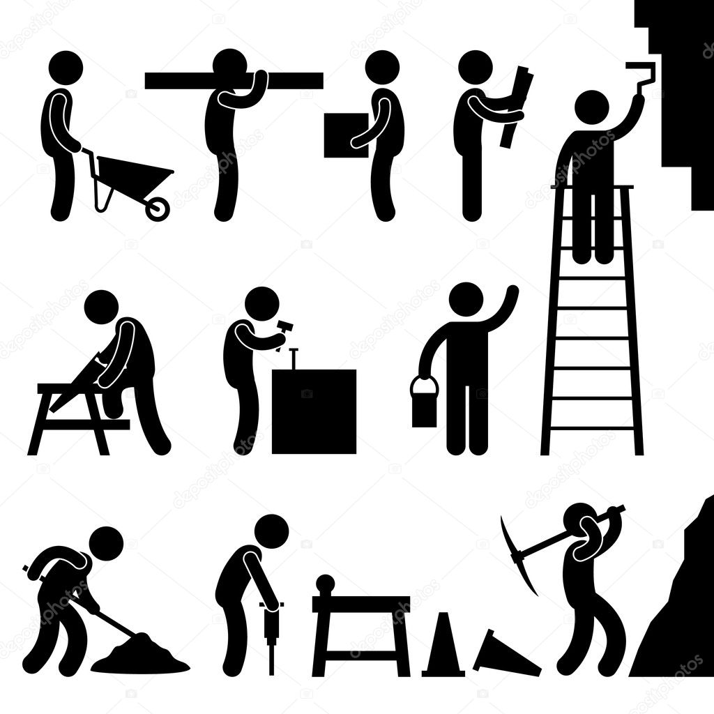 Working Construction Hard Labor Pictogram Icon Symbol Sign