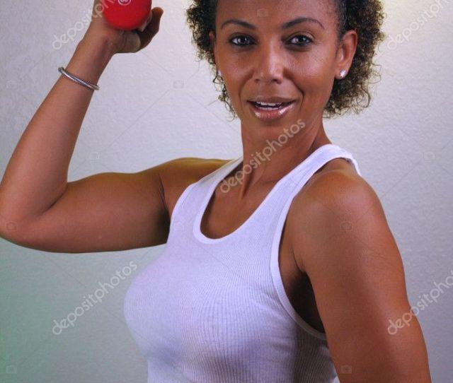 Beautiful Mature Black Woman Workout 1 Stockbild