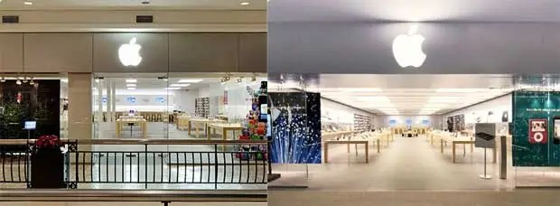 These are Apple's first two stores. Tysons Corner, Virginia on the left, Glendale, California on the right.