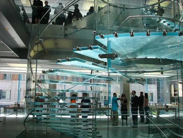 The Boston store also sports one of Apple's signature glass staircases