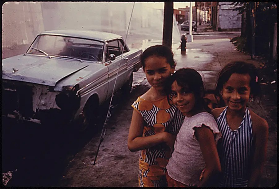 Three girls on Bond Street in Brooklyn.