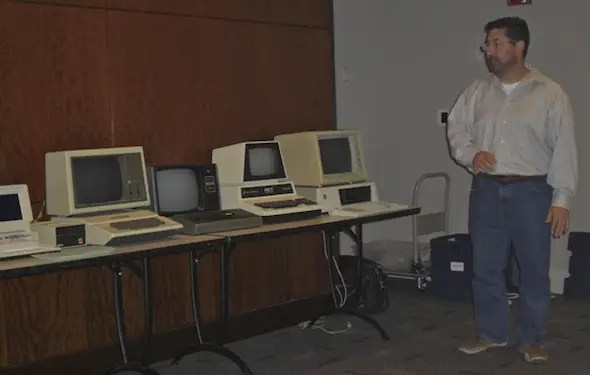 Greelish gives a presentation on the first three consumer PCs: the Apple II, Tandy TRS-80 Model 1 and the Commodore PET. That's the original IBM PC on the end.