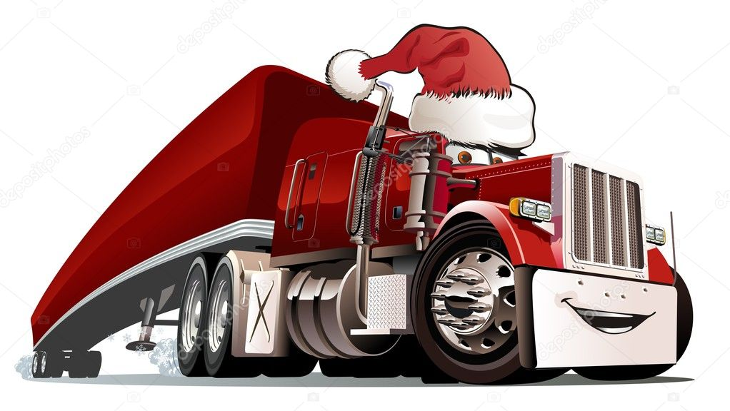 Vector Cartoon Christmas Truck Stock Vector Mechanik