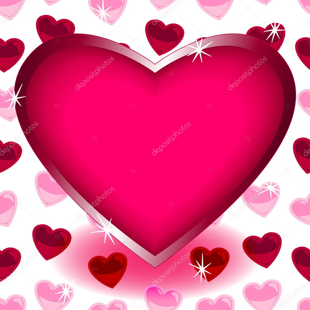 Big Heart Over Seamless Heart Shape Pattern