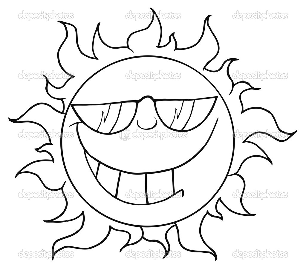 Outline Of A Cool Sun Wearing Shades