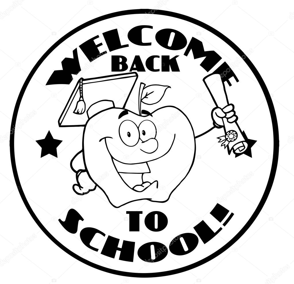 Black And White Welcome Back To School Circle And Student