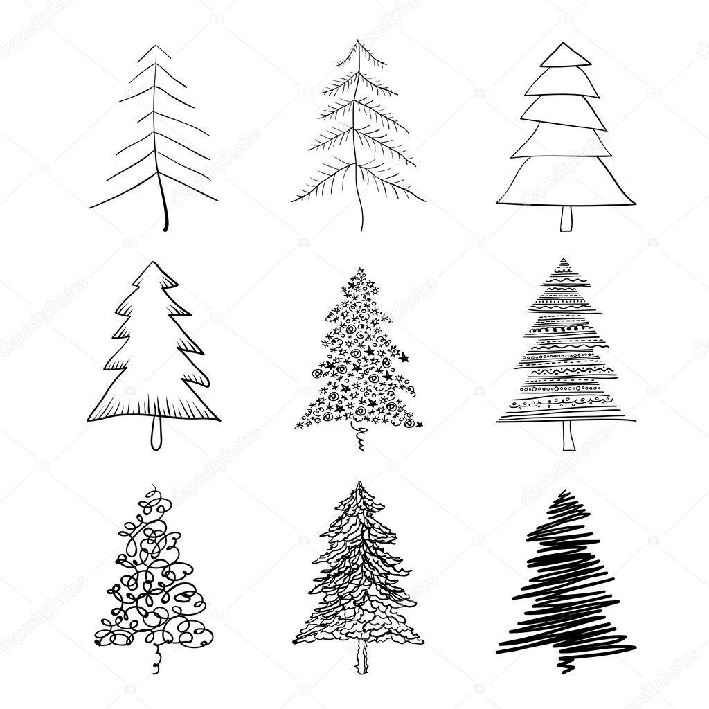 Christmas Tree Silhouette Set Of Illustrations Vector