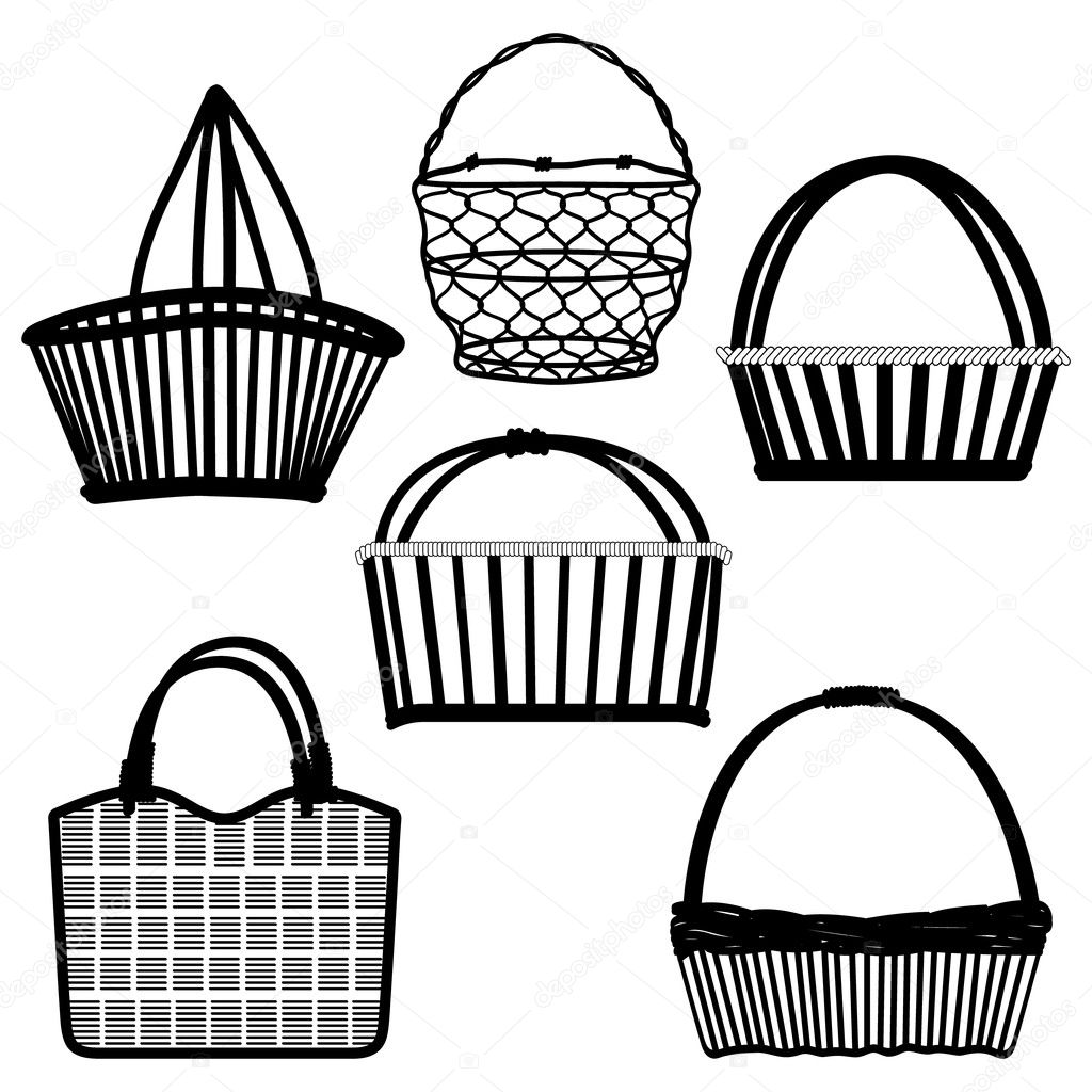 Basket Bag Container Wired Wooden