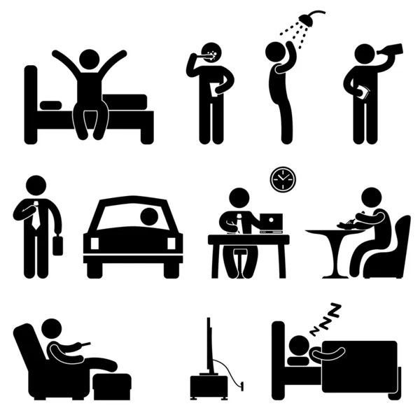 Man Daily Routine People Icon Sign Symbol Pictogram by Khoon Lay Gan - Imagens vectoriais em stock