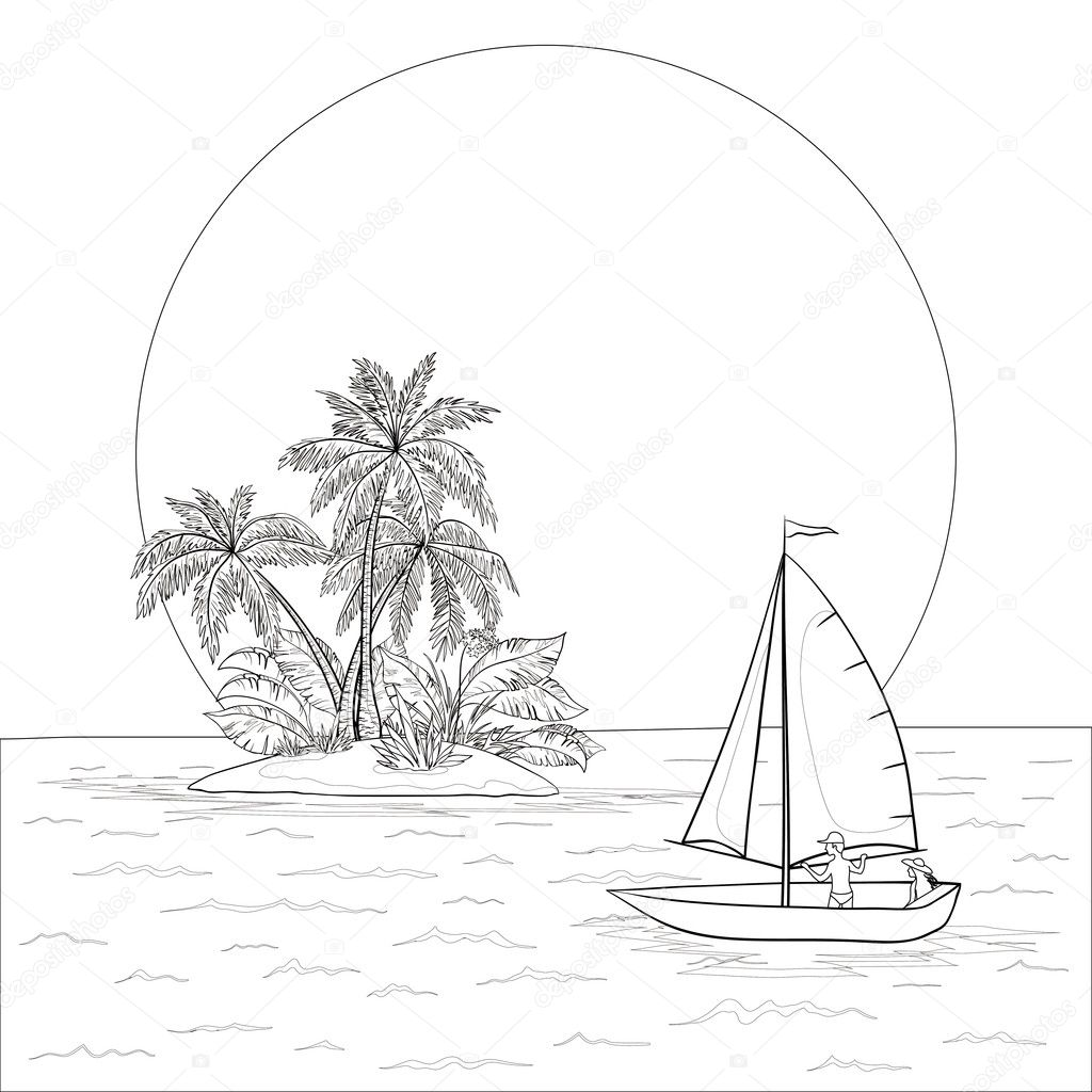 Sailing Boat In The Tropical Sea Contours