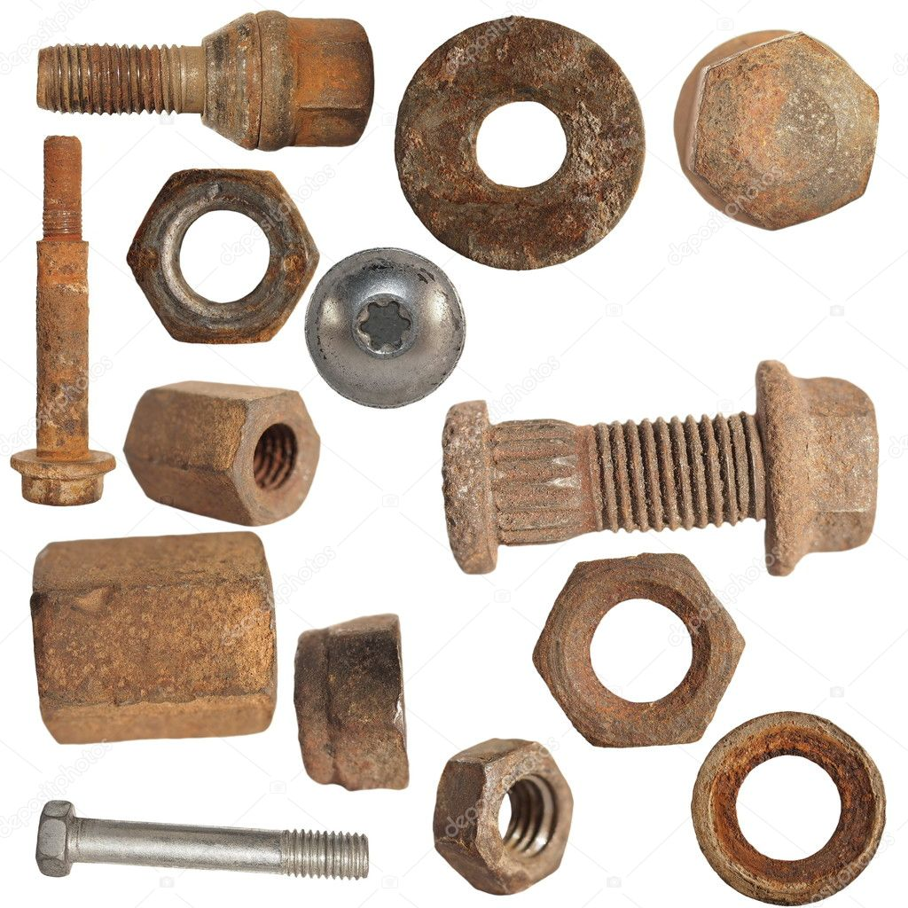 Old Rusty Screw Heads Bolts Steel Nuts Old Metal