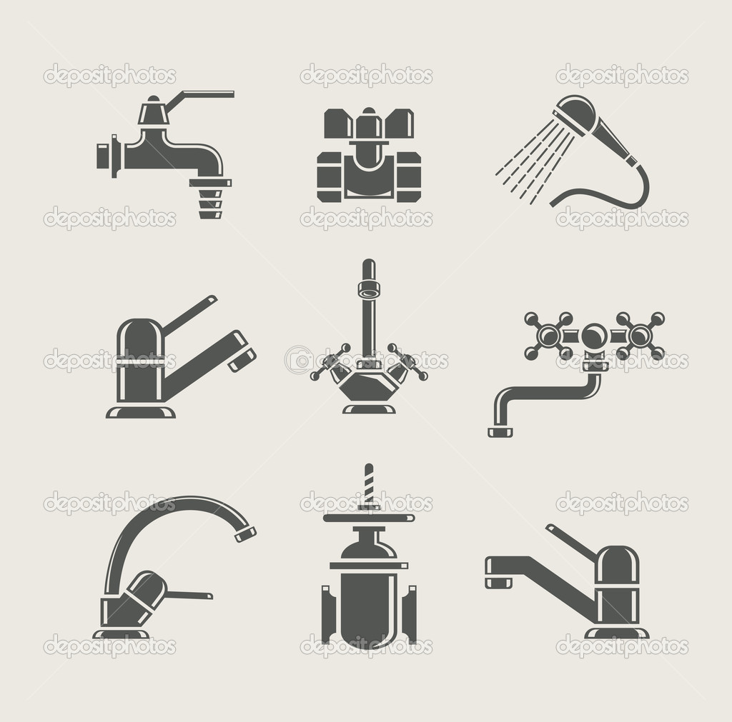 Water Supply Faucet Mixer Tap Valve For Water Set Icon
