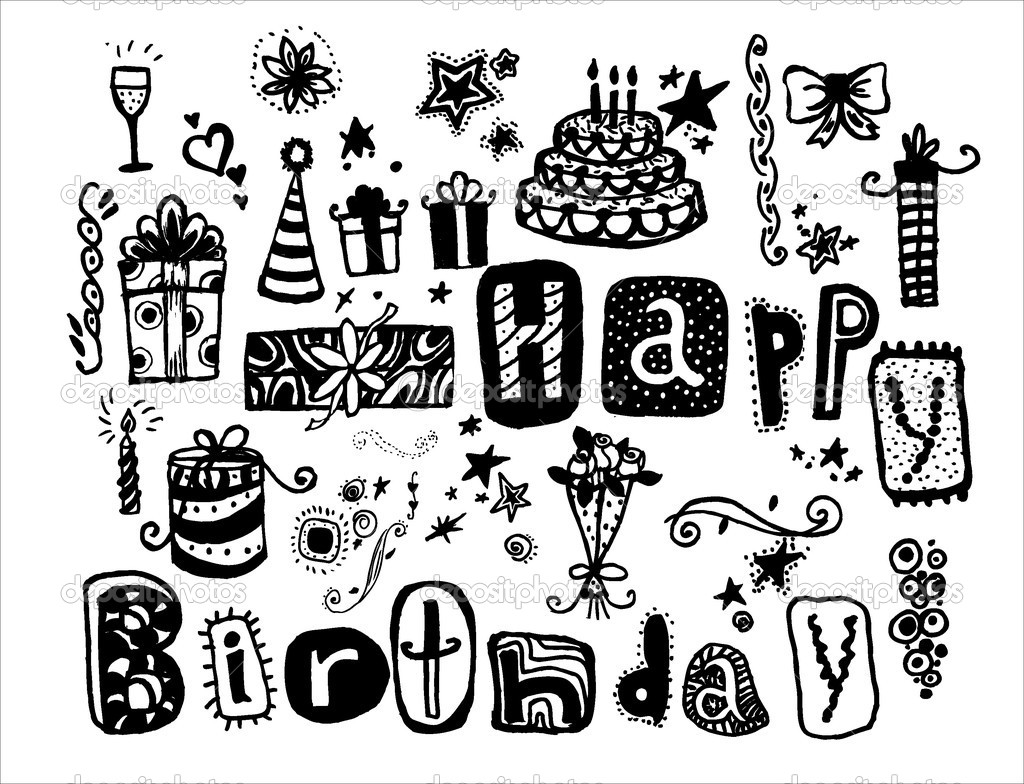 Doodle Happy Birthday Many Holiday Elements Hand Drawn