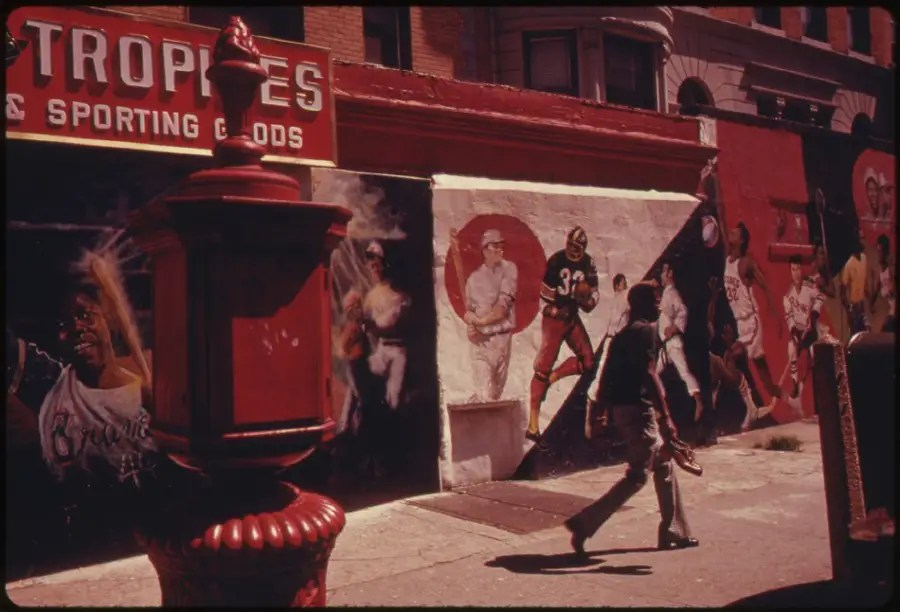 Black sports heros are the motifs in the wall paintings on Nostrand Ave., Brooklyn.