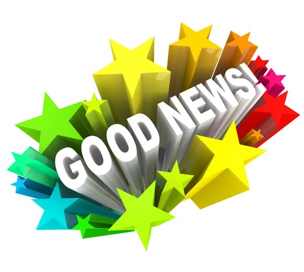 Good News Announcement Message Words in Stars — Stock Photo