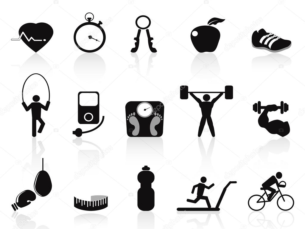 Black Fitness Icons Set