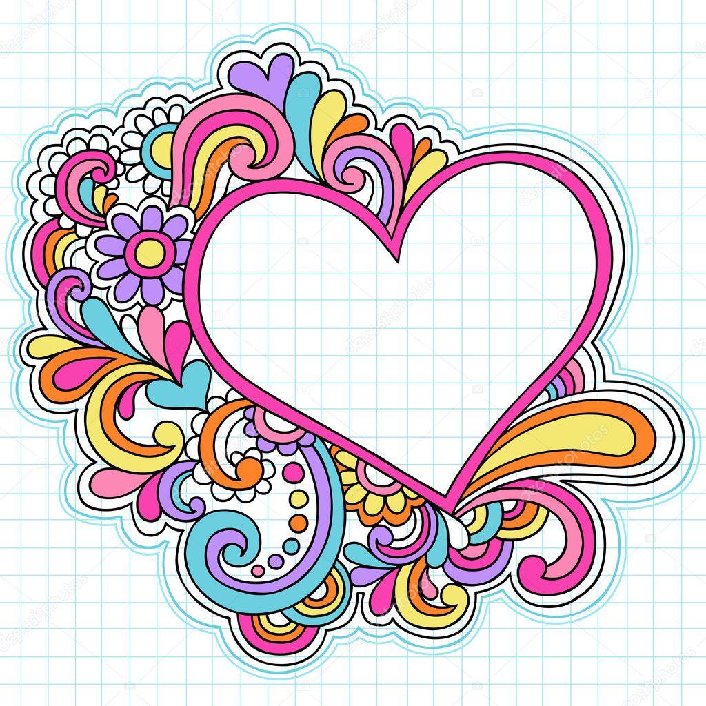Heart Frame Border Psychedelic Notebook Doodles Stock