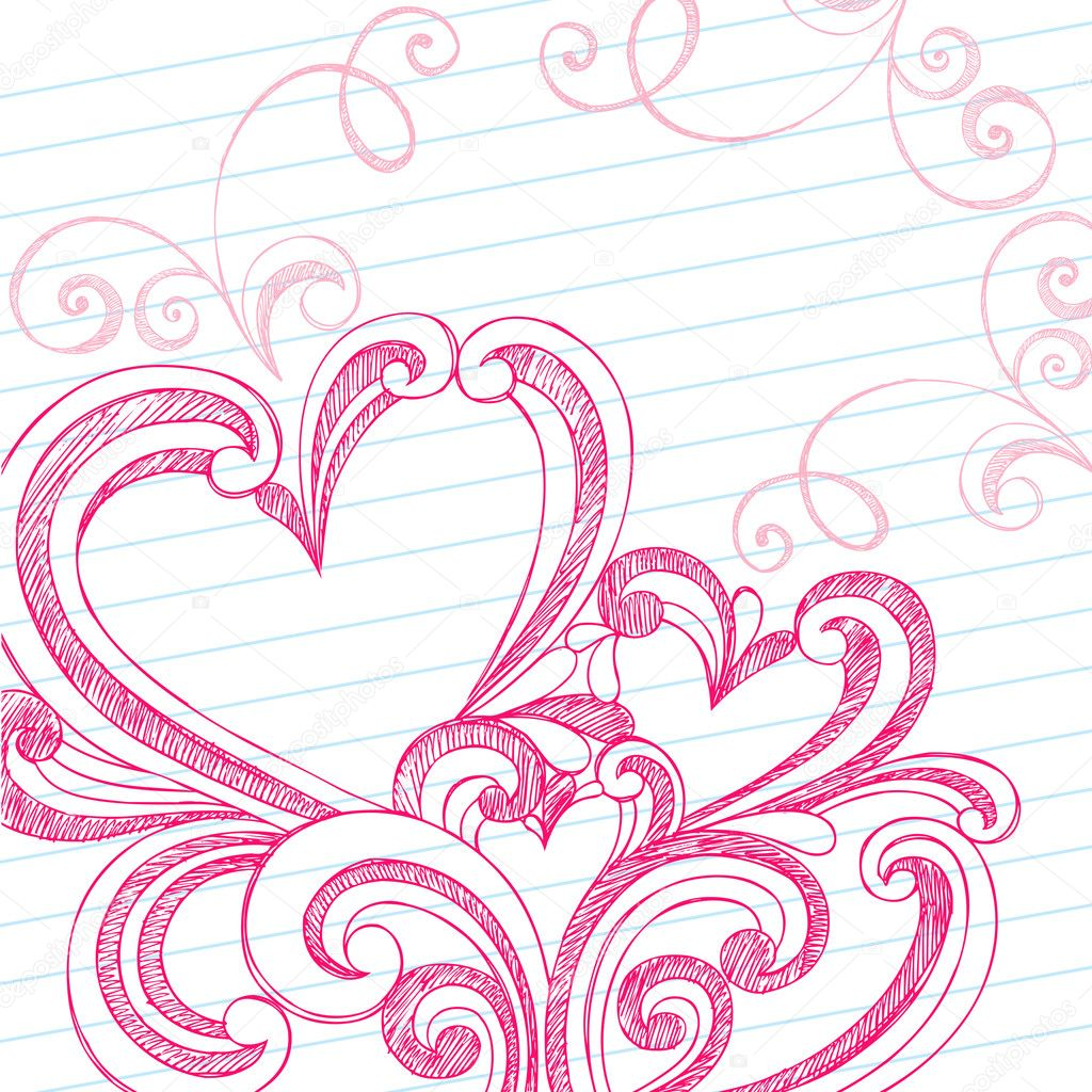 Heart Shaped Sketchy Doodle Swirls Valentines Day Vector