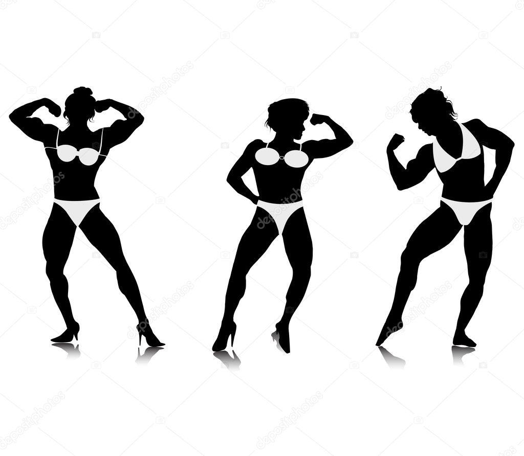 Sagome Di Giovani Donne Bodybuilder