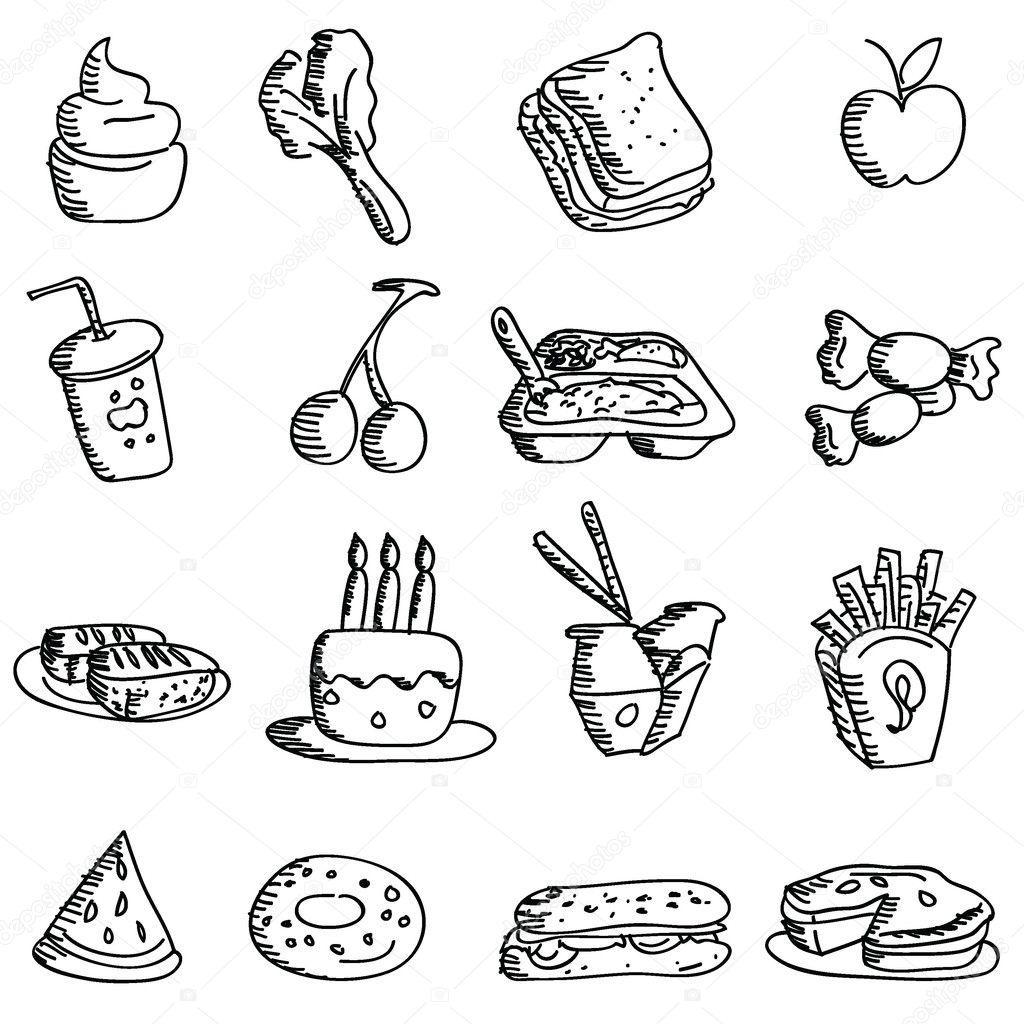 Cartoon Doodles Food Icons
