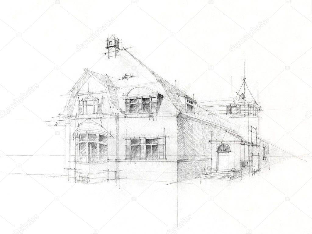O Owek Szkic Starego Domu Na Bia Ym Papierze