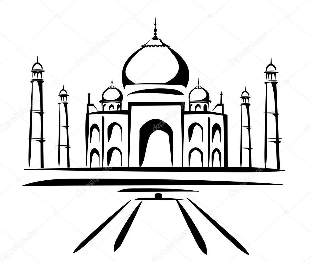 taj mahal symbol in black lines stock vector baldyrgan 9554137